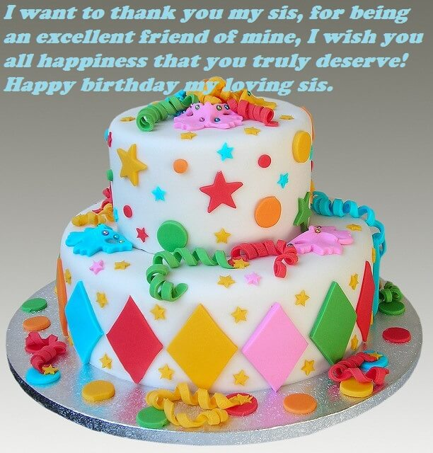 Happy Birthday Cake Wishes Images For Sister