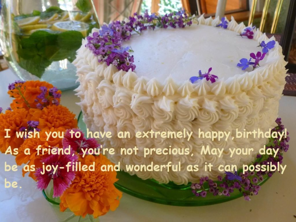 Birthday Cake Wishes With Flowers
