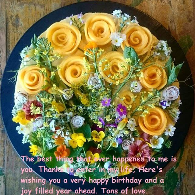 Birthday Cake With Wishes And Flowers