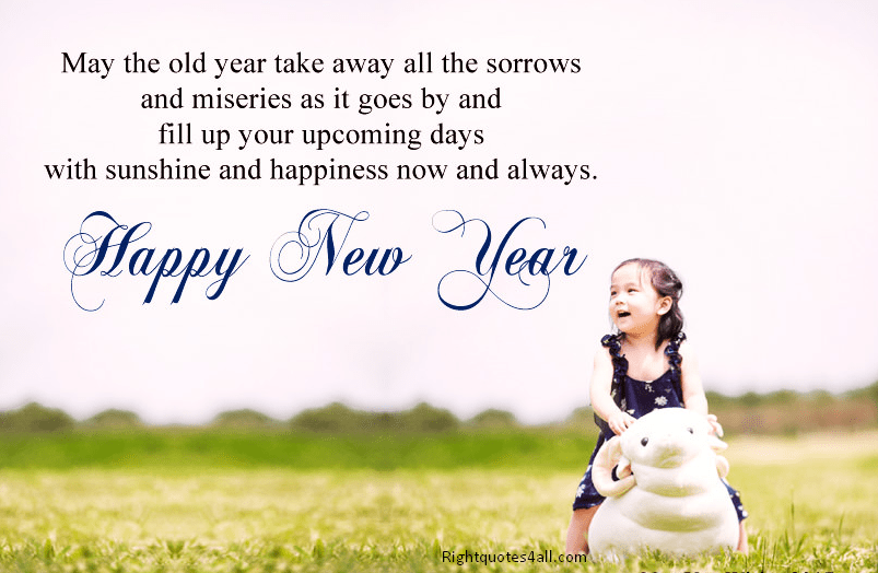 cute happy new year wishes in english with cute pie girl