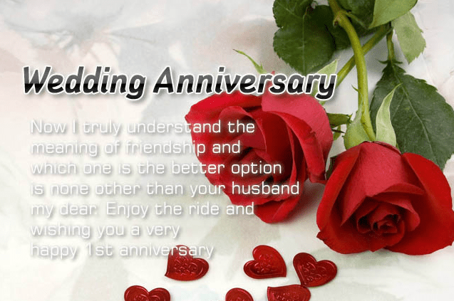best happy first wedding anniversary message to my husband image