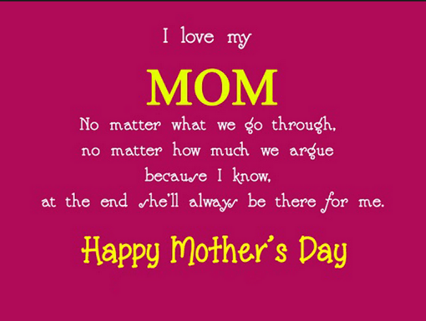 I Love My Mom Happy Mothers