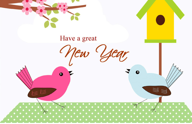 Beautiful Birds Happy New Year Images