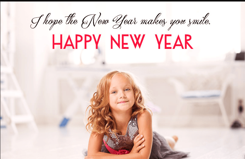 Happy New Year Cute Quote with Kid